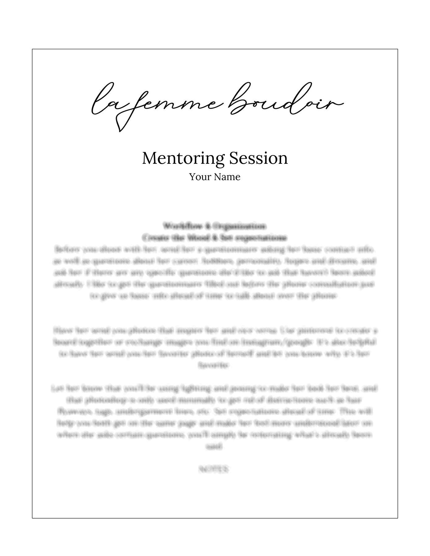 La Femme Boudoir Mentoring Sessions Worksheet